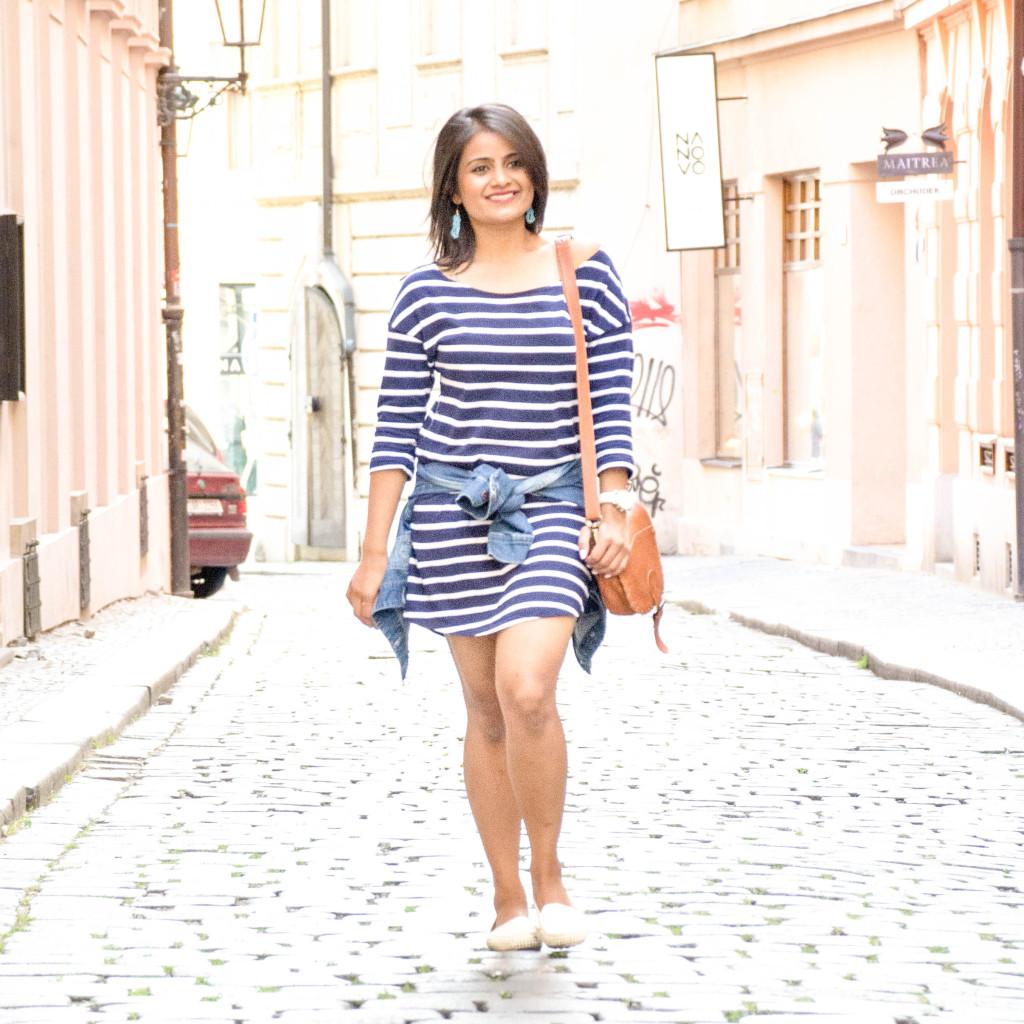Stripes-dress-jean-jacket-ootd-loveplayingdressup-petite-1
