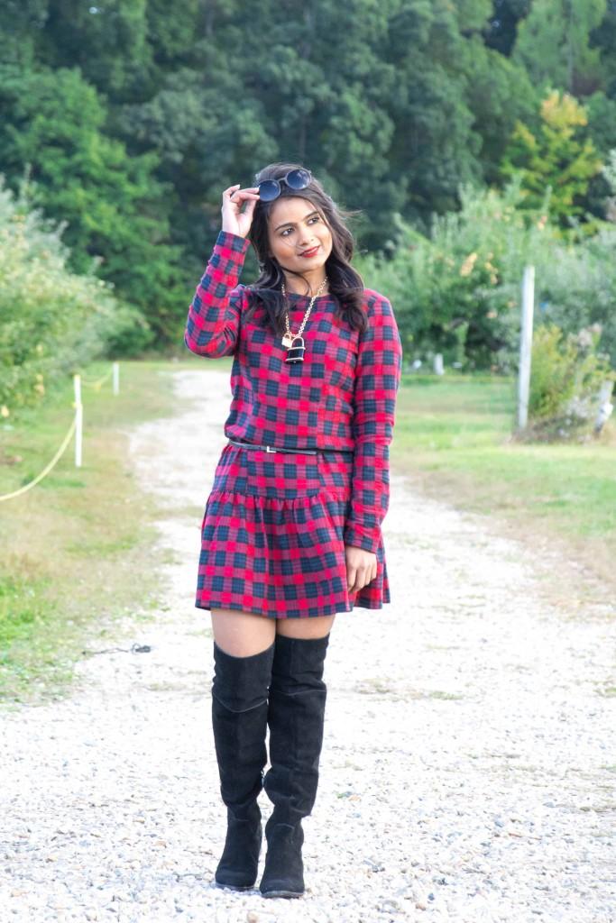 Loveplayingdressup-ootd-neha-gandhi-plaiddress-stellamccartney-otkboots-applepicking3