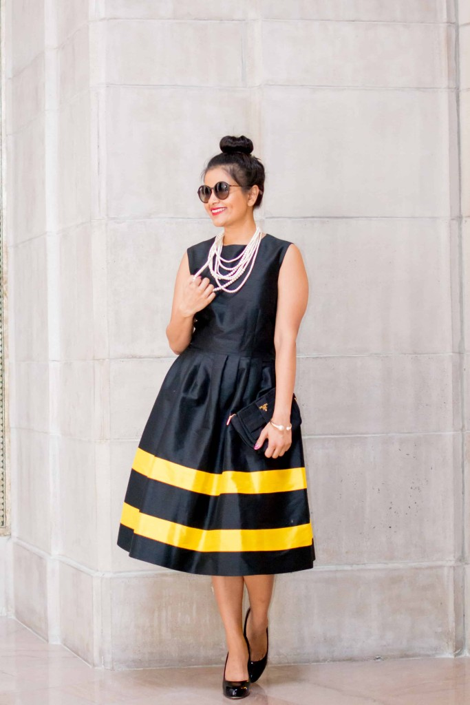 LovePlayingDressup-LallaBee-NehaGandhi-LittleBlackDress-YellowStripes-PearlNecklace-Twirl-OOTD1