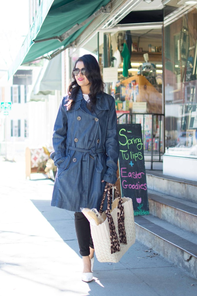 JC Penny Trench Coat-Denim Trench--Lace Top, Distressed Jeans-Basket Tote, White Pumps, Petite, Spring OOTD-NehaGandhi-StreetStyle-LovePlayingDressup -1