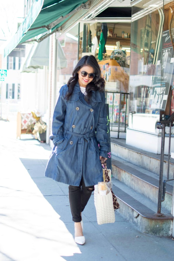 JC Penny Trench Coat-Denim Trench--Lace Top, Distressed Jeans-Basket Tote, White Pumps, Petite, Spring OOTD-NehaGandhi-StreetStyle-LovePlayingDressup -2