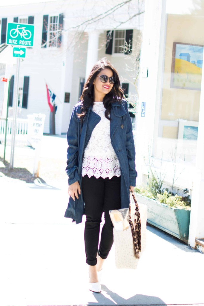 JC Penny Trench Coat-Denim Trench--Lace Top, Distressed Jeans-Basket Tote, White Pumps, Petite, Spring OOTD-NehaGandhi-StreetStyle-LovePlayingDressup -9