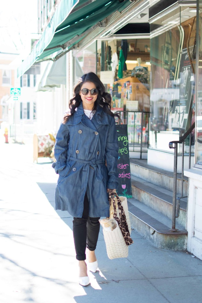 JC Penny Trench Coat-Denim Trench--Lace Top, Distressed Jeans-Basket Tote, White Pumps, Petite, Spring OOTD-NehaGandhi-StreetStyle-LovePlayingDressup -3
