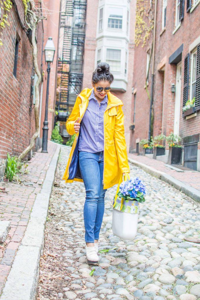 LovePlayingDressup-Neha-Gandhi-WilsonsLeather-YellowRainParka-Jcrew-Gingham-Blue-Shirt-6