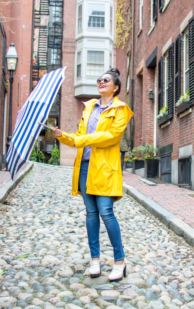 LovePlayingDressup-Neha-Gandhi-WilsonsLeather-YellowRainParka-Jcrew-Gingham-Blue-Shirt-7