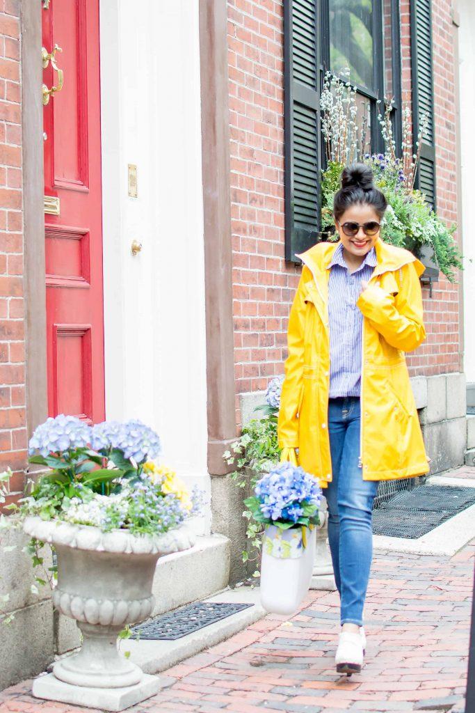 LovePlayingDressup-Neha-Gandhi-WilsonsLeather-YellowRainParka-Jcrew-Gingham-Blue-Shirt-8