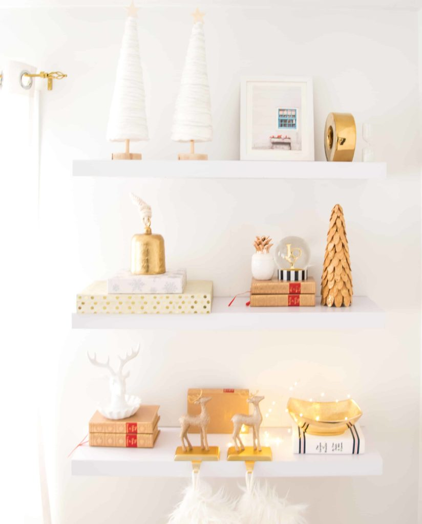 Christmast-decor-white-shelf-gold-decor-shelfie