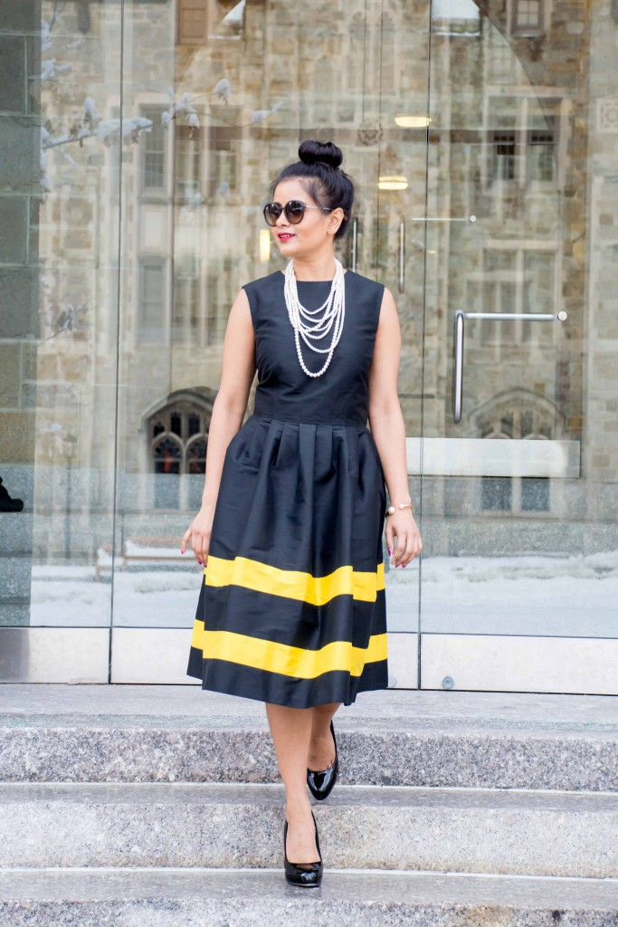 LovePlayingDressup-LallaBee-NehaGandhi-LittleBlackDress-YellowStripes-PearlNecklace-Twirl-OOTD10