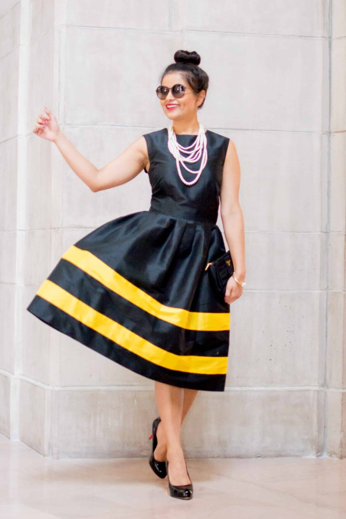 LovePlayingDressup-LallaBee-NehaGandhi-LittleBlackDress-YellowStripes-PearlNecklace-Twirl-OOTD2