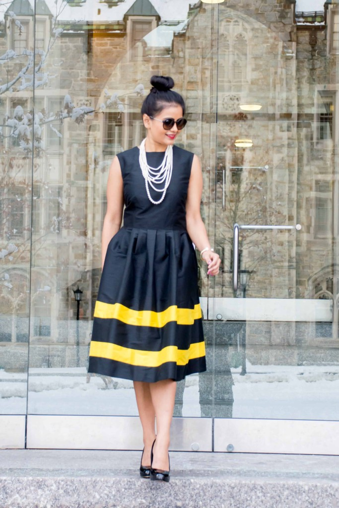 LovePlayingDressup-LallaBee-NehaGandhi-LittleBlackDress-YellowStripes-PearlNecklace-Twirl-OOTD8