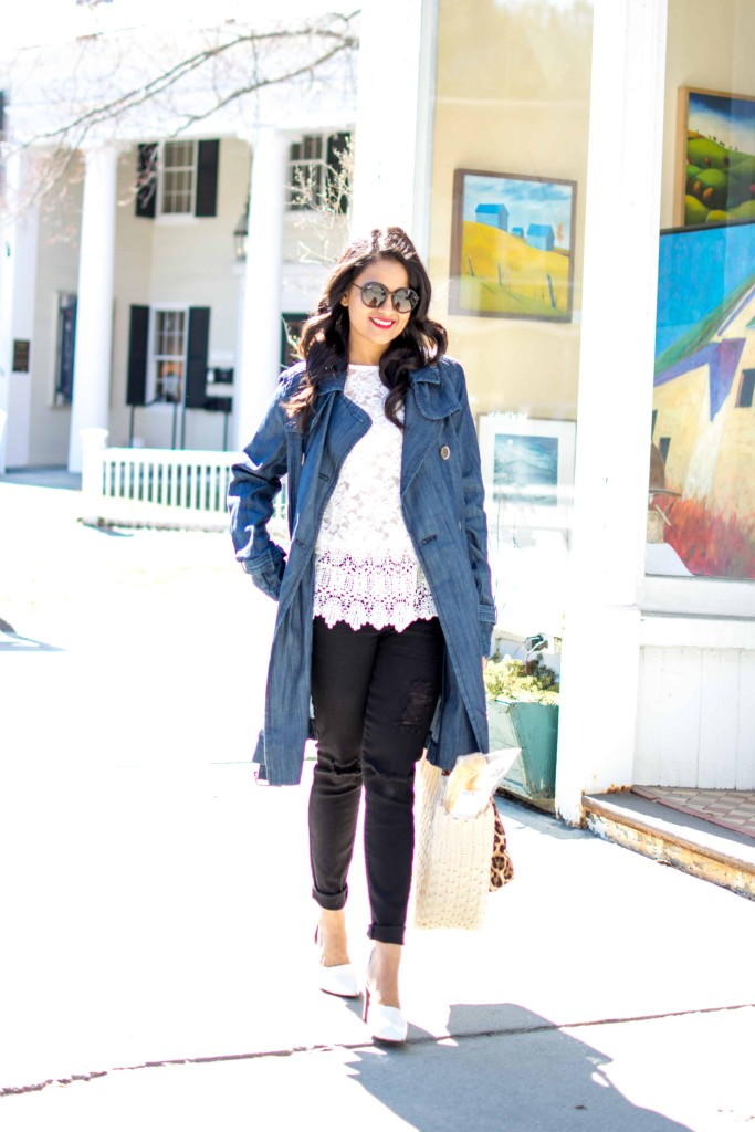JC Penny Trench Coat-Denim Trench--Lace Top, Distressed Jeans-Basket Tote, White Pumps, Petite, Spring OOTD-NehaGandhi-StreetStyle-LovePlayingDressup -10