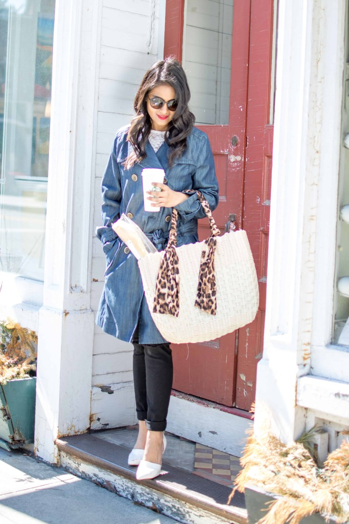 JC Penny Trench Coat-Denim Trench--Lace Top, Distressed Jeans-Basket Tote, White Pumps, Petite, Spring OOTD-NehaGandhi-StreetStyle-LovePlayingDressup -5